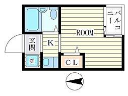 コートベルセブン[1階]の間取り