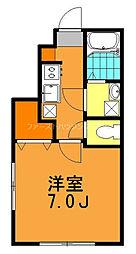 西武多摩川線 新小金井駅 徒歩3分の賃貸アパート 1階1Kの間取り