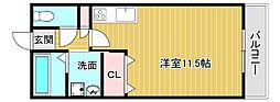 JR鹿児島本線 西牟田駅 徒歩23分の賃貸アパート 1階ワンルームの間取り