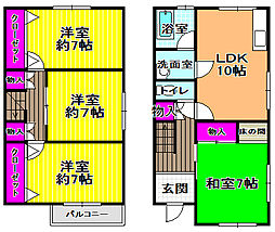 [テラスハウス] 大阪府富田林市藤沢台6丁目 の賃貸【/】の間取り