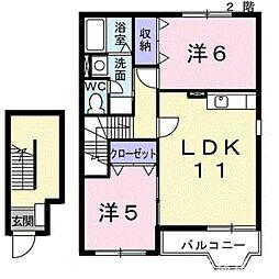 パインヒル石井C[1階]の間取り
