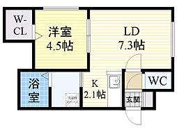 北海道札幌市北区北20条西4丁目の賃貸マンションの間取り