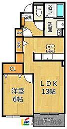 グレーシアE・S・T II 1階1LDKの間取り