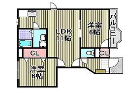 ファミール泉南3番館[1階]の間取り