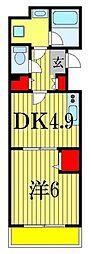 JR総武線 西船橋駅 徒歩12分の賃貸アパート 3階1DKの間取り