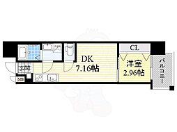ドゥエリング大阪城北 8階1DKの間取り