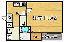 大阪府大阪市東淀川区小松4丁目の賃貸アパートの間取り