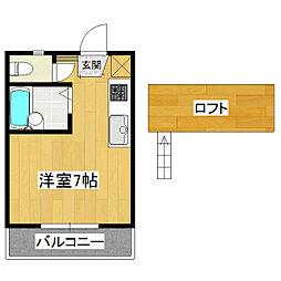 桂コーポ上高津[1階]の間取り