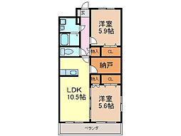 静岡県富士市北松野の賃貸マンションの間取り