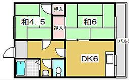 大阪府枚方市印田町の賃貸アパートの間取り