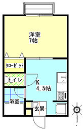 プロパティー佐和田 1階1Kの間取り