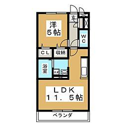 カナディアンコート南吉成B[3階]の間取り
