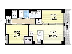 阪急京都本線 西山天王山駅 徒歩15分の賃貸マンション 3階2LDKの間取り