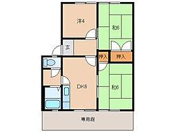グリーンフル藤井[1階]の間取り