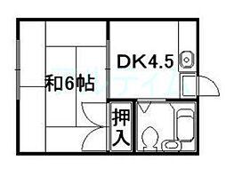 京都府京都市東山区東瓦町の賃貸アパートの間取り