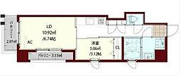 福岡市地下鉄七隈線 薬院大通駅 徒歩6分の賃貸マンション 11階1LDKの間取り