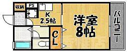福岡県福岡市東区唐原6丁目の賃貸アパートの間取り