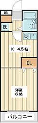ローズガーデンR8 2階1DKの間取り