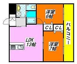 エタニティ・高井田 405号室[4階]の間取り