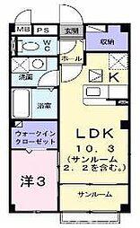 京阪交野線 交野市駅 徒歩12分の賃貸マンション 1階1LDKの間取り