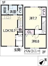 [タウンハウス] 愛知県名古屋市緑区緑花台 の賃貸【愛知県 / 名古屋市緑区】の間取り