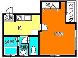 香川県高松市松島町2丁目の賃貸マンションの間取り