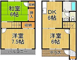 千葉県野田市山崎貝塚町の賃貸アパートの間取り