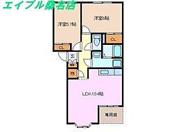 三重県桑名市長島町福吉の賃貸アパートの間取り