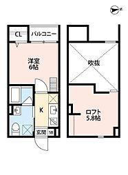 大阪府堺市西区浜寺諏訪森町西2丁の賃貸アパートの間取り