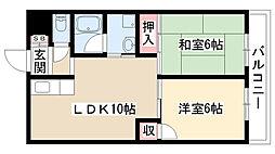 愛知県名古屋市名東区大針2の賃貸アパートの間取り