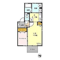 富山県富山市常盤台の賃貸アパートの間取り