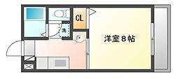 岡山県岡山市北区西崎1丁目の賃貸アパートの間取り