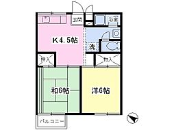 JR高崎線 宮原駅 徒歩3分の賃貸アパート 2階2Kの間取り