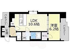 スプランディッド新大阪5 10階1LDKの間取り