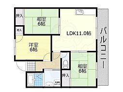 阪急千里線 南千里駅 徒歩19分の賃貸マンション 1階3LDKの間取り