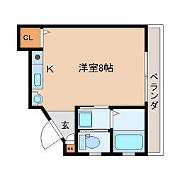 静岡鉄道静岡清水線 古庄駅 徒歩13分の賃貸マンション 2階ワンルームの間取り
