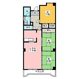 愛知県名古屋市緑区鳴海町字山下の賃貸マンションの間取り