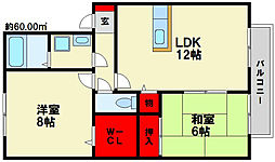 福岡県春日市小倉2丁目の賃貸アパートの間取り