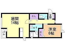 コーポ純 亀田港 2階1LDKの間取り