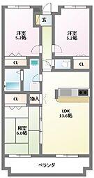 クレセント・リブ[3階]の間取り