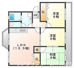 第1コーポHAMADA[4階]の間取り