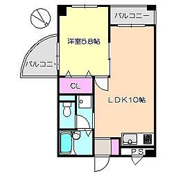 メゾンドゥフレール 4-H[4階]の間取り