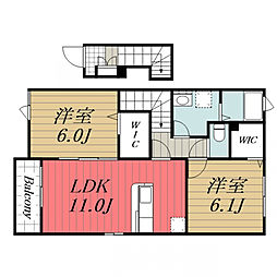 JR成田線 成田駅 バス24分 富里消防署下車 徒歩3分の賃貸アパート 2階2LDKの間取り