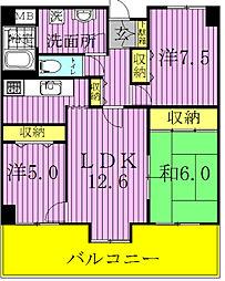 アビイマンション[701号室]の間取り