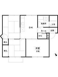 神奈川県高座郡寒川町一之宮8丁目の賃貸アパートの間取り