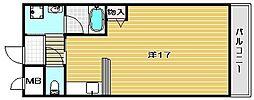 大阪府高槻市富田町1丁目の賃貸マンションの間取り