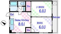 日暮里舎人ライナー 扇大橋駅 徒歩1分の賃貸マンション 1階2LDKの間取り