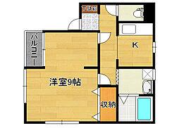 ハイライフ紫竹山B[2階]の間取り
