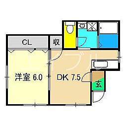 土方マンション[2階]の間取り