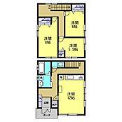 リフォーム中間取りは3LDKになります。1階の事務所スペースを12帖LDKと水回りに改装し、2階を8帖、6帖、5.5帖の洋室に改装予定です。
